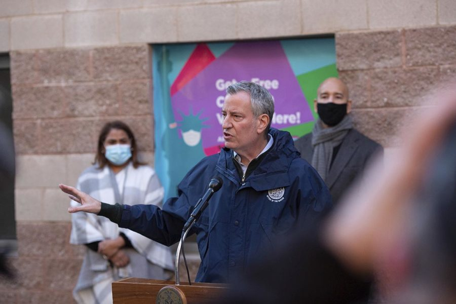 Mayor Bill de Blasio speaks during a press conference at the Bathgate Post Office on Sunday, Jan. 10, 2021, in the Bronx, New York.