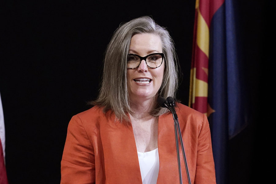 Arizona Secretary of State Katie Hobbs addresses the members of Arizona's Electoral College.