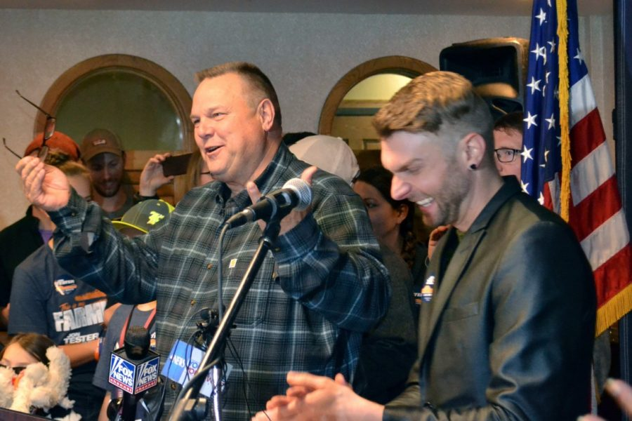 Sen. Jon Tester announces his victory on Nov. 7, 2018, in Great Falls, Mont.
