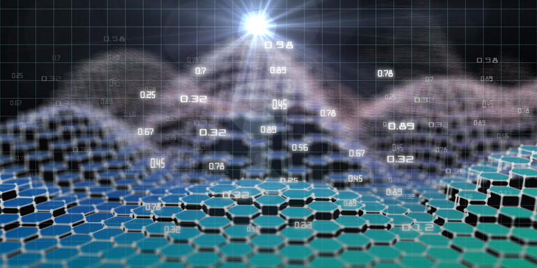 Abstract futuristic background with hexagonal polygonal data structure and lens effect. Big data. Quantum virtual cryptography. Business visualization of artificial intelligence. Blockchain.